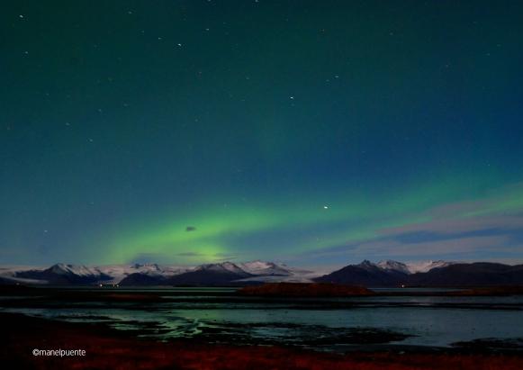 Aurora boreal al poble de Höfn