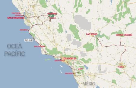 mapa ruta usa west