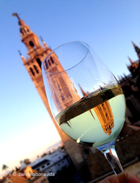 Prenent una copa de vi des de la terrassa de davant la Catedral