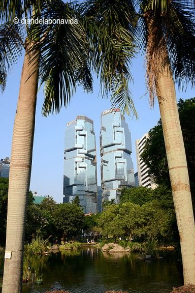 Vista de les torres bessones Lippo Centre des del HongKong Park