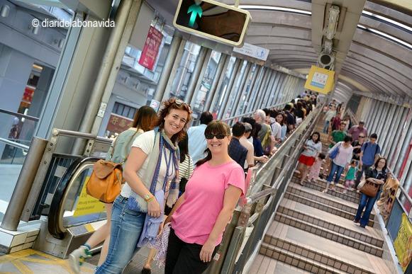 La Sílvia i la Cristina davant les escales mecàniques més llargues del món.