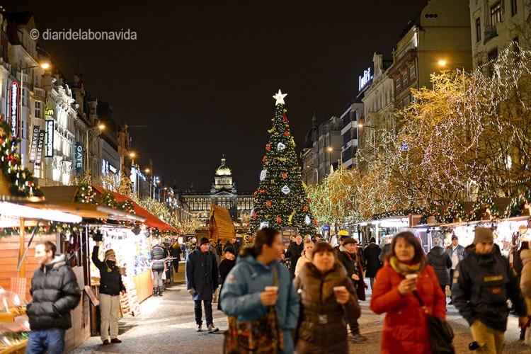 Plaça de Wenceslao amb decoració nadalenca