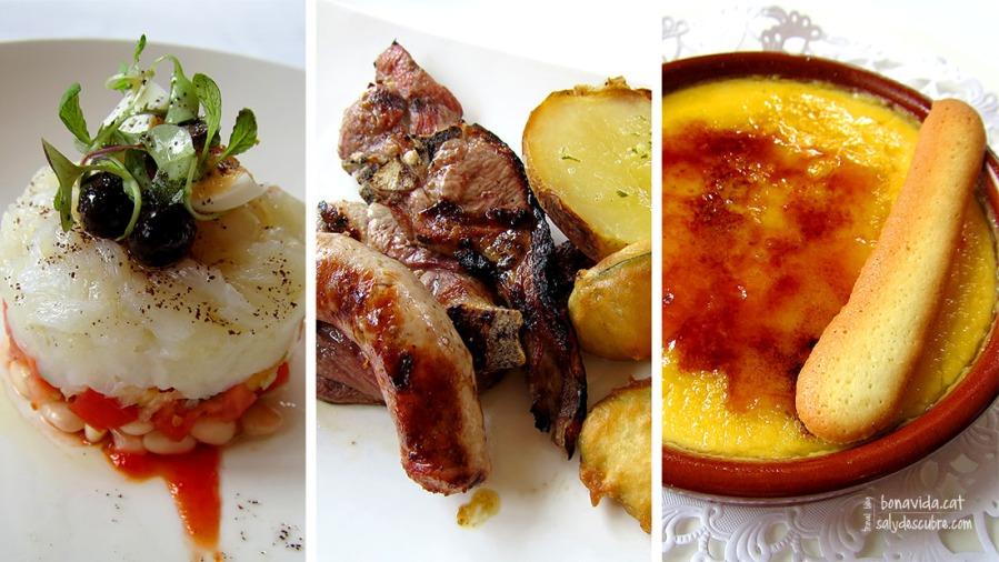 Empedrat de bacallà, graellada de carn a la brasa i crema catalana. Tot exquisit!