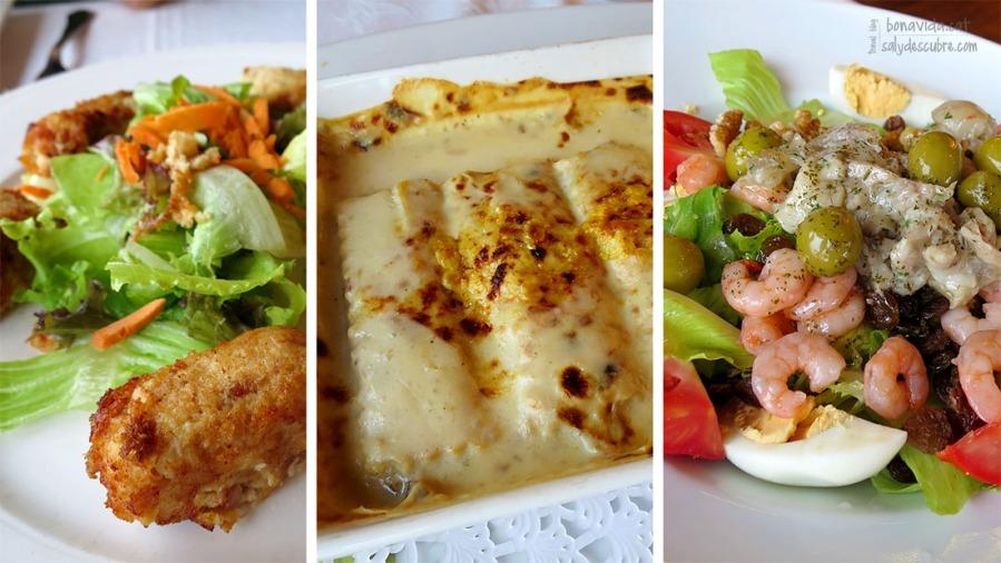 Croquetes de pollastre i cansalada, canelons de bolets, i amanida de peus de porc