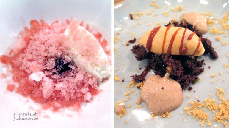 Gelat de iogurt, base de crema de cirera i granissat de síndria i menta (la textura de la cirera és una mica especial. A primera vista una combinació una mica estranya, però un cop tastat, casen a la perfecció!) / Brownie de festucs, gelat de toffee i espuma de cafè (perfecta combinació de tots els ingredients. Unes postres excel·lents)