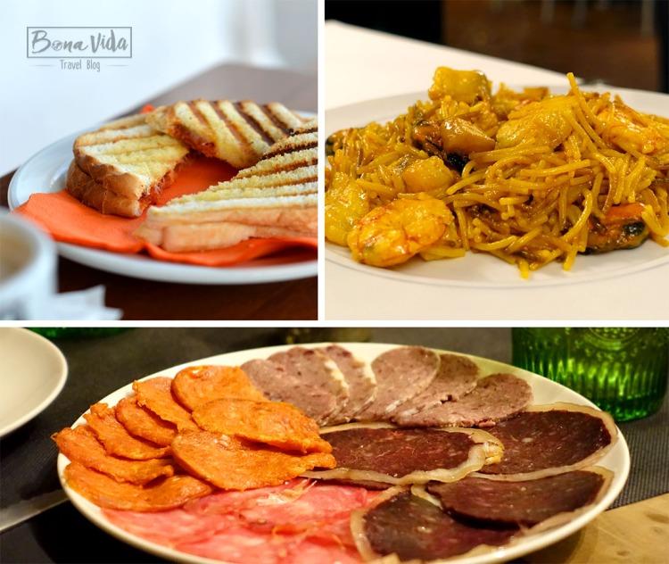 Gastronomia de l'illa: bikini menorquí (amb sobressada i formatge), arrossos i fideuas, embotits típics (camot, botifarró blanc, carn-i-xulla...)