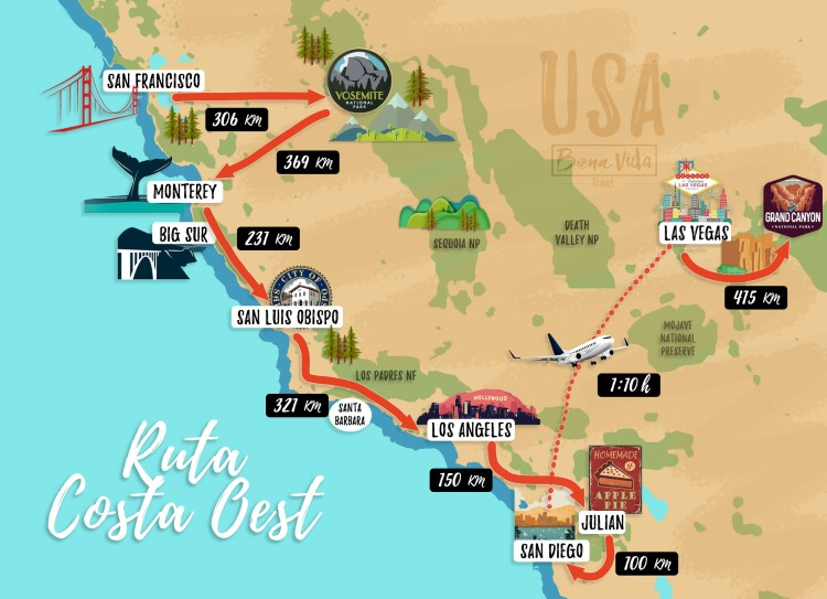 mapa ruta costa oest 01 cat